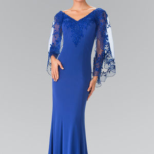 V-Neck Sheer Sleeves Long Prom Dress GL2235